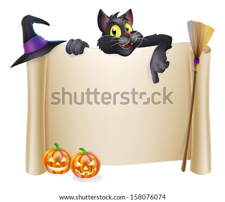 A Halloween scroll sign with a black cat character above the banner and pumpkins, witch's cats, hat and broomstick - stock photo
