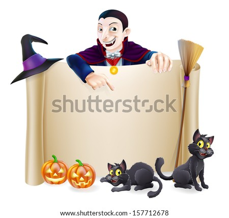 A Halloween scroll sign with a Dracula vampire character above the banner, pumpkins and witch's cats, hat and broomstick - stock photo