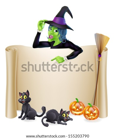 A Halloween scroll sign with a witch character above the banner and pumpkins, witch's cats, hat and broomstick