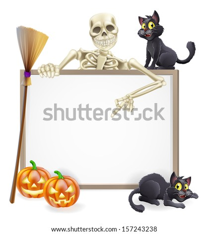 A Halloween sign with a classic skeleton character pointing down and witch's black cats, broomstick and Halloween carved orange pumpkins - stock photo