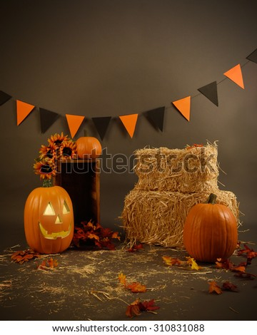 A Halloween studio set with hay, pumpkins and a decorative hanging banner on a gray background with leaves - stock photo