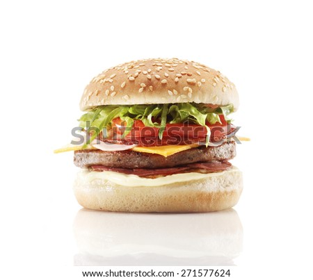 A hamburger on a white background