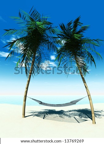 A hammock between two palmtrees on the beach with the ocean in the  background on a sunny day. - stock photo