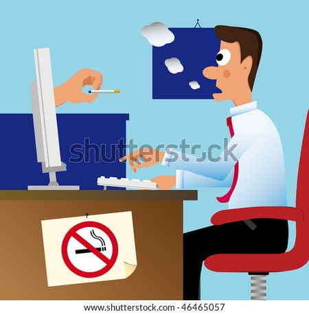 A hand comes out from the pc monitor and remove the cigarette from a surprised employee' mouth