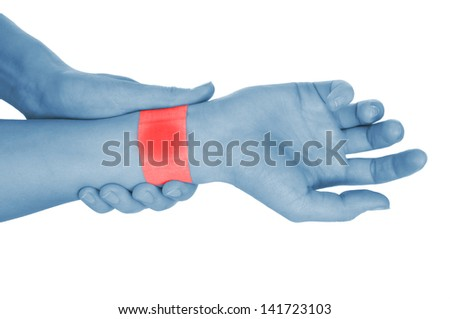 a hand covered with plaster, shown red, isolated on white background