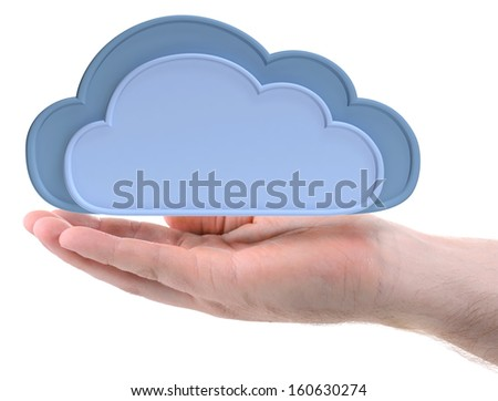 a hand cupping holding the cloud