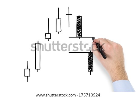 A hand drawing a market bar-chart 2 - stock photo
