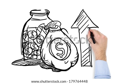 A hand drawing arrow, bank and dollars - stock photo