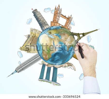 A hand drawing sketches of the most famous places in the world. A concept of tourism and sightseeing. Light blue background. Elements of this image furnished by NASA. - stock photo