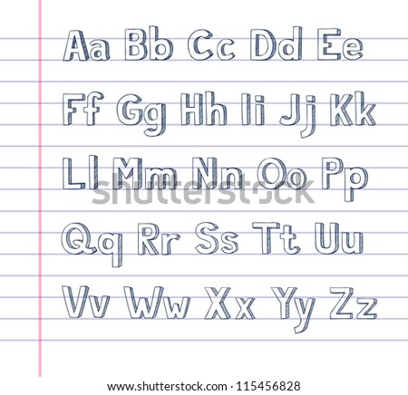 A hand drawn alphabet on lined paper - stock photo