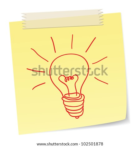 a hand drawn bulb symbol on a notes ,for ideas or innovation concepts. - stock photo