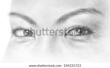 A hand drawn illustration of a pair of eyes