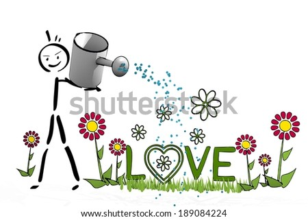 a hand drawn stick man waters a love with simple flowers on white background - stock photo