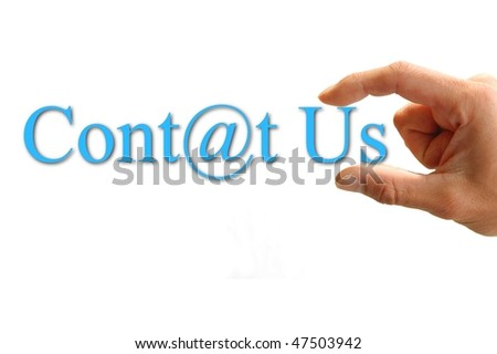 A Hand hold the words contact us. Isolated on white background. - stock photo