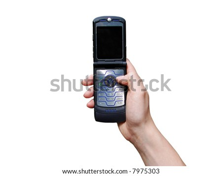 a hand holding a mobile phone for support