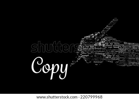 """A hand holding a pencil made of words and the word """"COPY"""" as a title - Word Cloud - stock photo"""