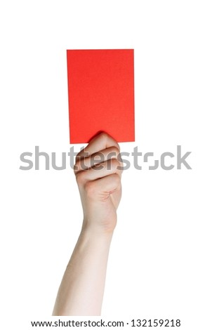 a hand holding a red card, isolated on white - stock photo