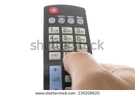 A hand holding a remote control isolated on a white background.