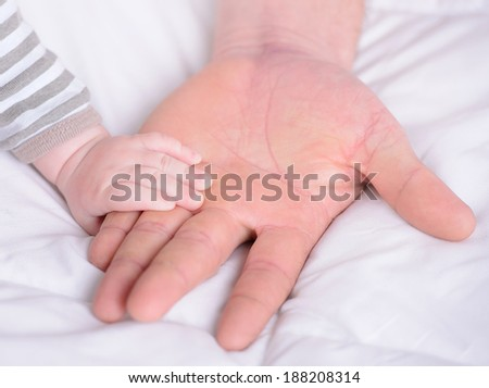 A hand holding a small baby hand of his father - stock photo