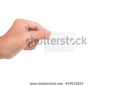 A hand holding a white paper card/note with white background