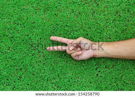 A hand holding up the peace sign or number two with two fingers on green grass background texture