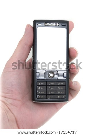 a hand holds a modern mobile phone