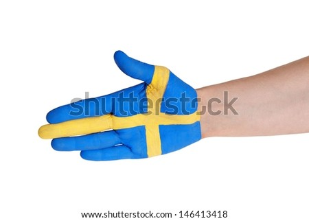 a hand in handshake gesture in the colors of sweden - stock photo
