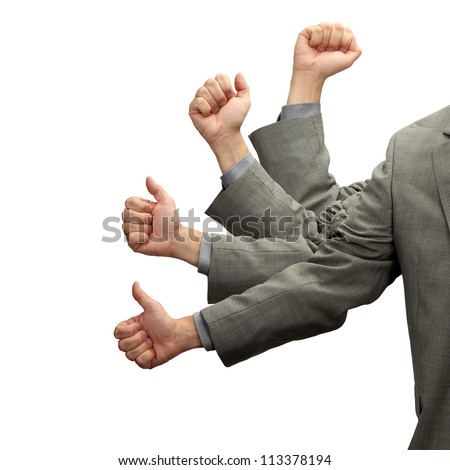 A hand in motion signifies corporate advancement isolated on white - stock photo