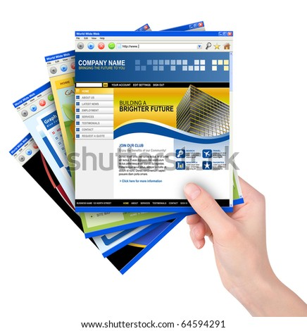 A hand is holding a stack of internet website templates on a white background. Use it for a business concept for optimization, speed or communication.