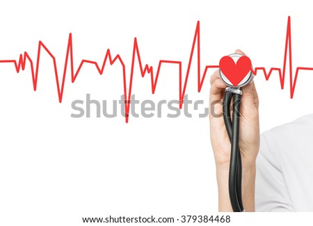 A hand listening to a red heart with a phonendoscope, the heart is a part of a cardiogram. White background. Concept of medical examination. - stock photo