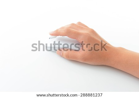 A hand manipulating the computer mouse