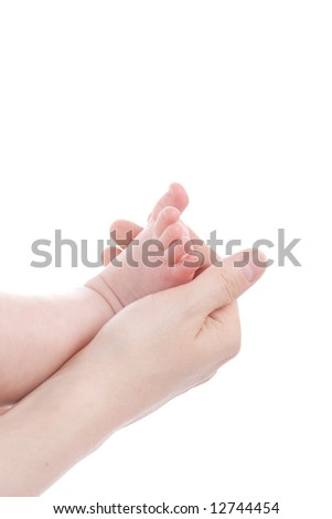 A hand of a mather. Shot in studio. Isolated on white.