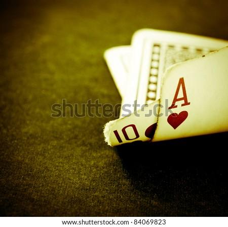 a hand of blackjack in retro color - stock photo