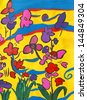 A hand painted image of flowers with acrylic paints.  Property Release on file. - stock photo