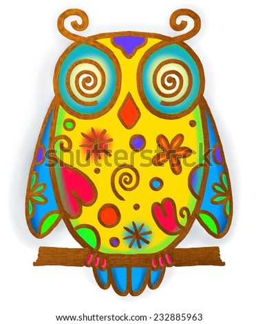 A hand painted whimsical doodle style illustration of a owl with pretty shapes and patterns.