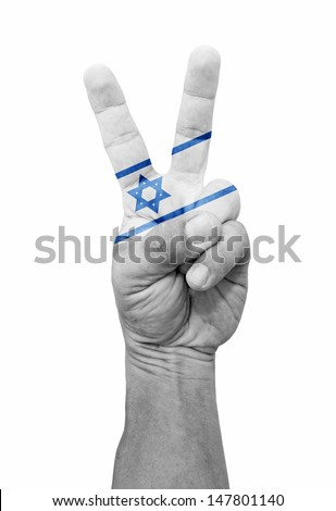 A hand painted with Israel flag making a V for victory symbol, isolated against white.  - stock photo