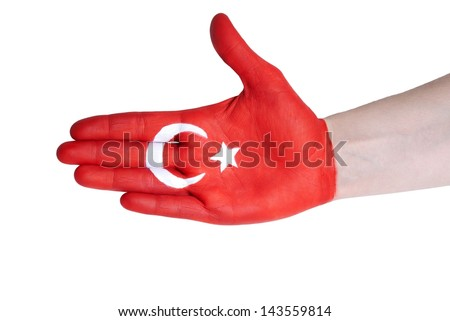 a hand painted with turkish flag, isolated