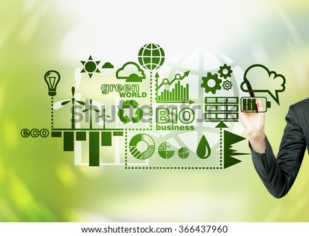 A hand painting symbols of alternative energy sources in green. Green background. Concept of clean environment. - stock photo