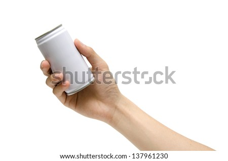 a hand picking a can (isolated) - stock photo