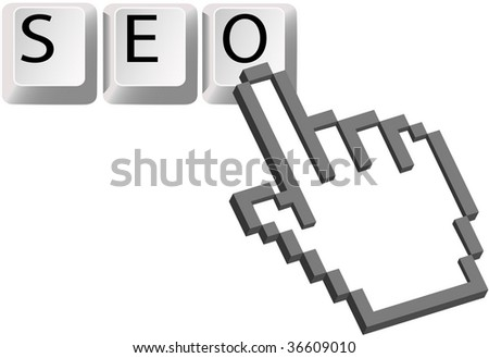 A Hand pixel cursor clicks on the SEO keys for a Search Engine Optimized search. - stock photo