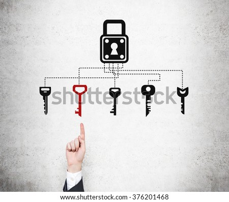 A hand pointing at a red key out of several keys drawn under a lock on a concrete wall. Black background. Concept of finding a solution. - stock photo