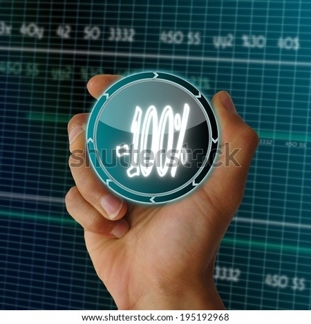 a hand presents digital round button with a symbol on it in front of a electronic data table from stock market