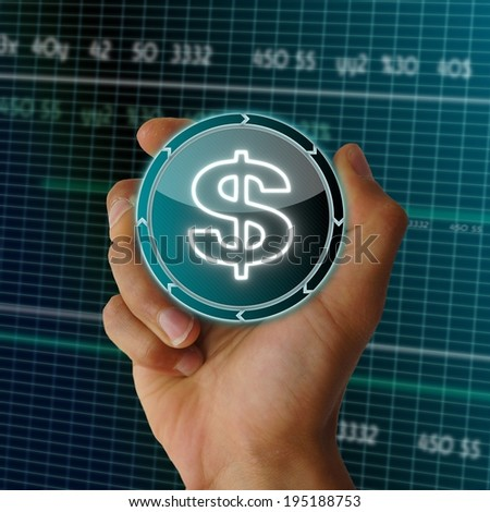 a hand presents future round button with a United States Dollar sign on it in front of a electronic data table from stock market