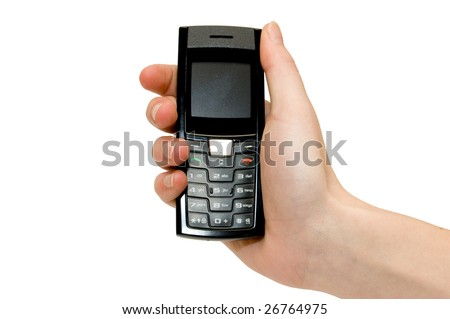 A hand showing a mobile phone with a white background