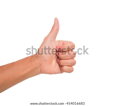 A hand sign of thumb point upward meaning ok, good, like, etc. with white background