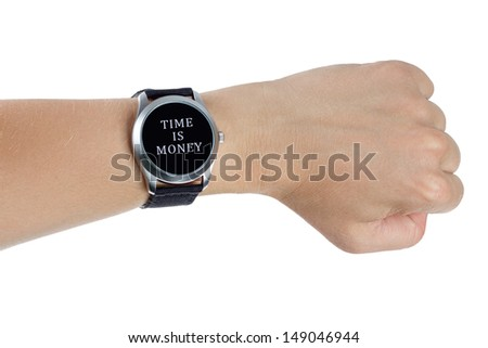 A hand wearing a black wrist watch. Time is money concept - stock photo