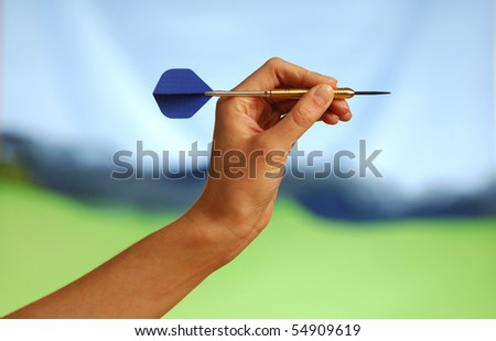 A hand with an arrow - stock photo