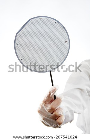 A hand with chips on wafer - stock photo