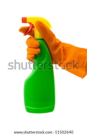 A hand with rubber glove holding a spray bottle. Vivid and industrial colours. Isolated on white with clipping path excluding drop shadow. - stock photo