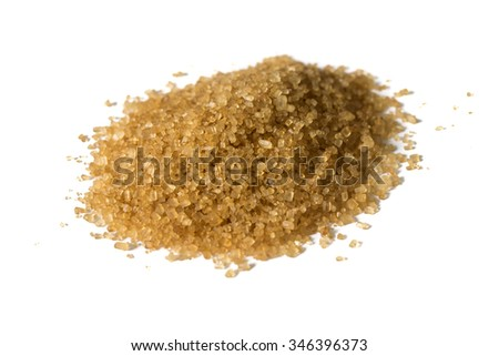 A handful of brown sugar on a white background